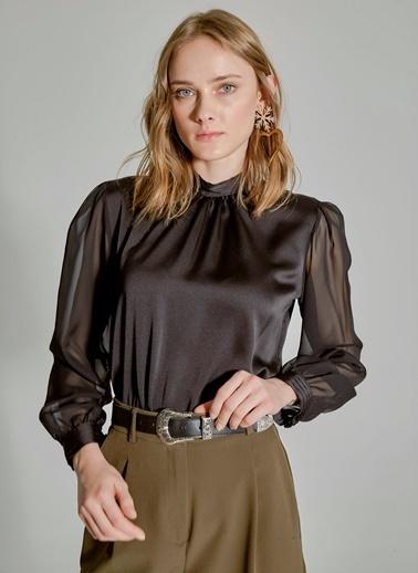 People By Fabrika Şifon Detaylı Bluz Siyah